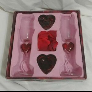 Valentines or wedding heart champagne glass set.